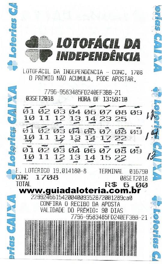 Lotofácil 08/09/18 - R$ 1.199,93