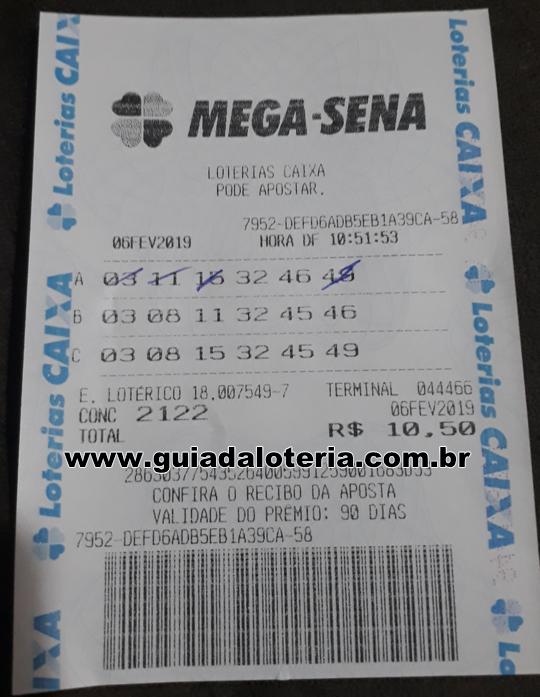 Mega Sena 06/02/19 - R$ 422,62