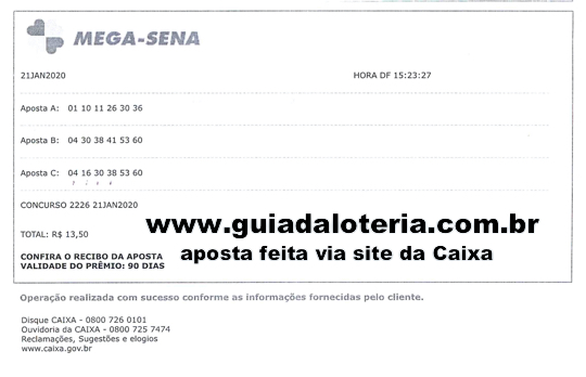 Mega Sena 21/01/20 - R$ 746,62