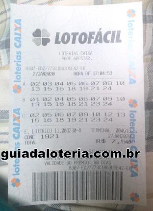 Lotofácil 27/01/20 - R$ 2.481,21