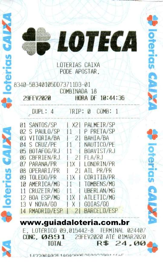 Loteca 02/03/20 - R$ 772,67