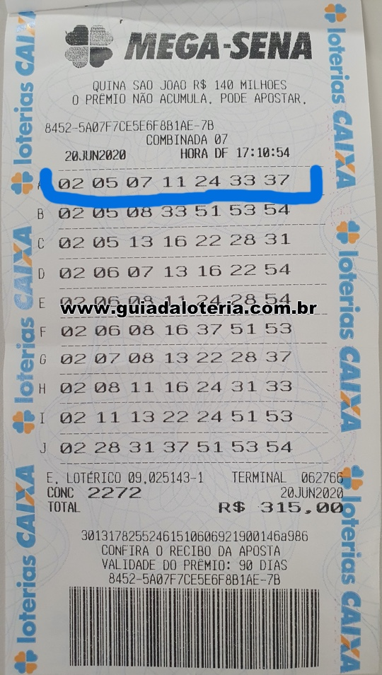 Mega Sena 20/06/20 - R$ 2.452,26