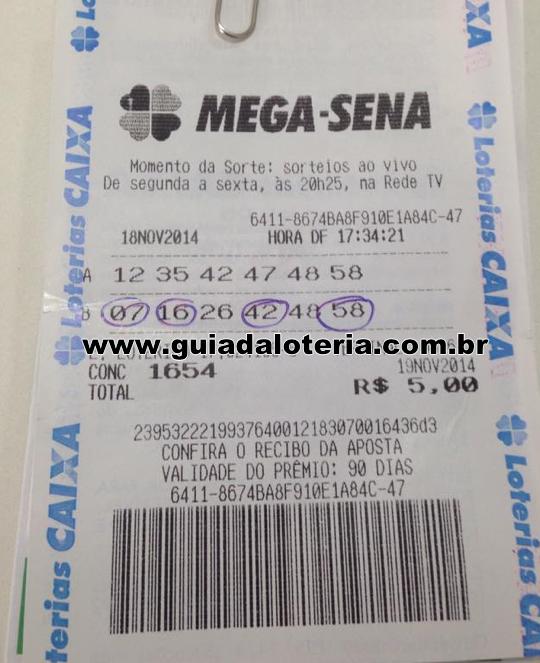 Mega Sena 19/11/14 - R$ 630,73 - Quadra
