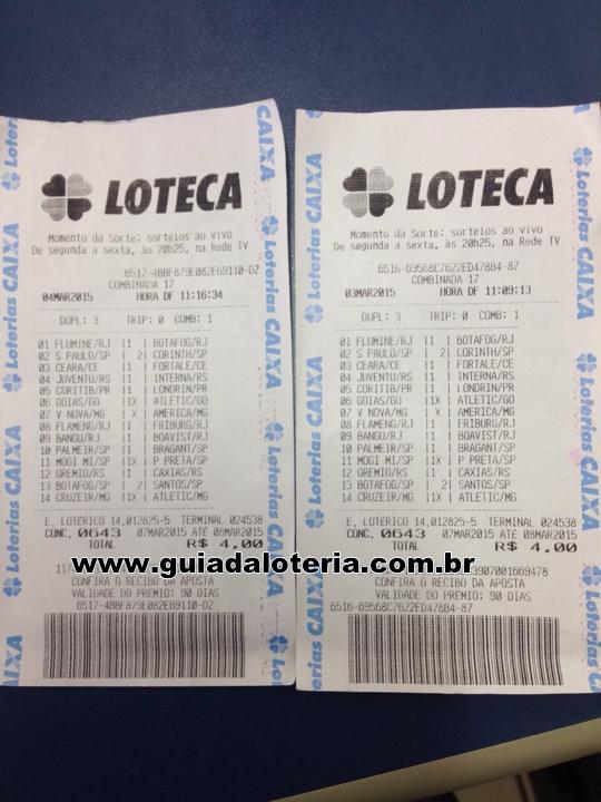 Loteca 09/03/15 - R$ 101,97