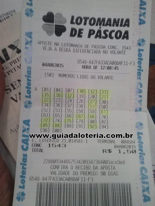 Lotomania 04/04/15 - R$ 2.111,25 - 18 pontos
