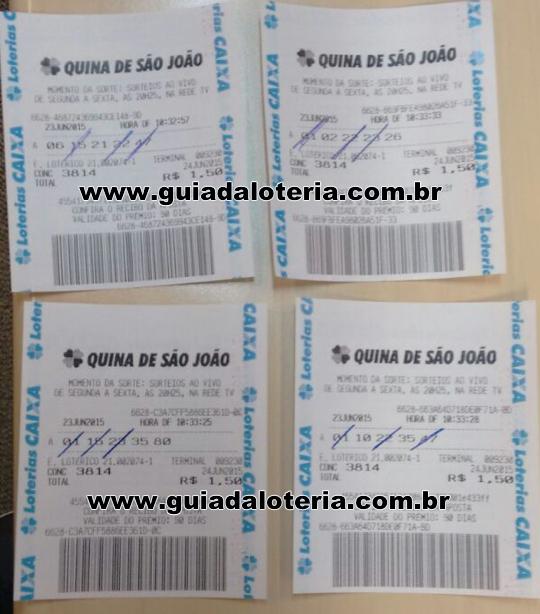 Quina 24/06/15 - R$ 586,40 - 4 ternos