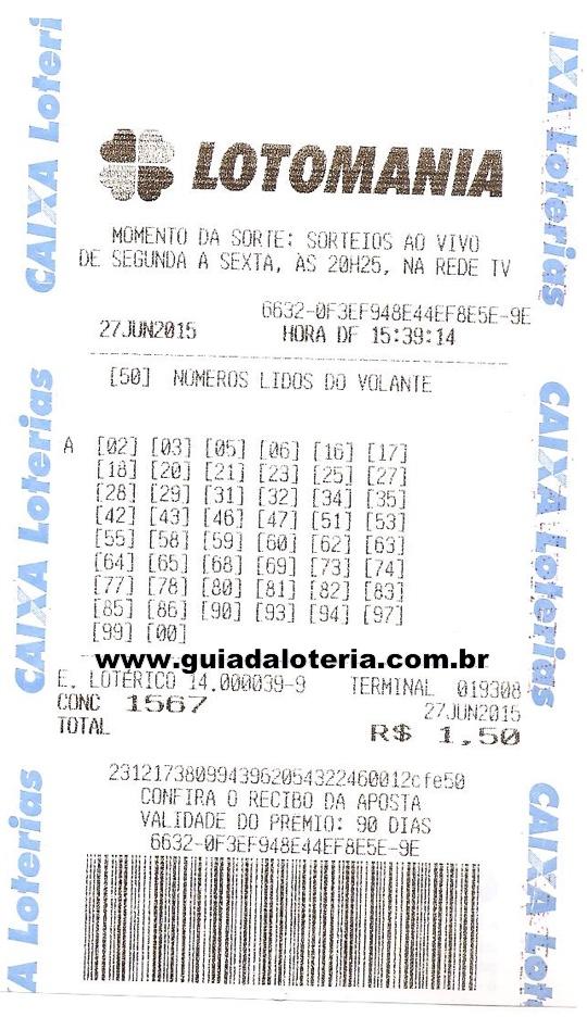 Lotomania 27/06/15 - R$ R$ 95,05 - 17 pontos