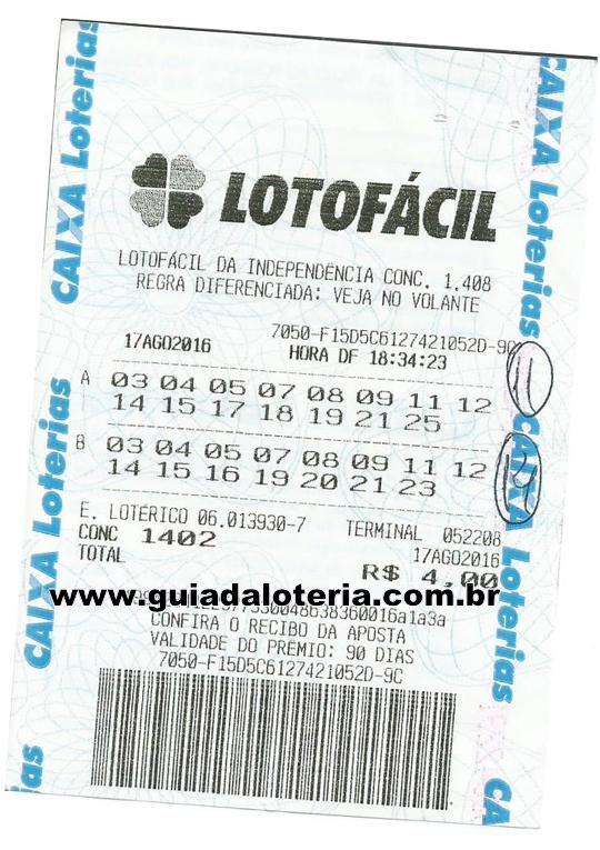 Lotofácil 17/08/16 - R$ 2.351,91