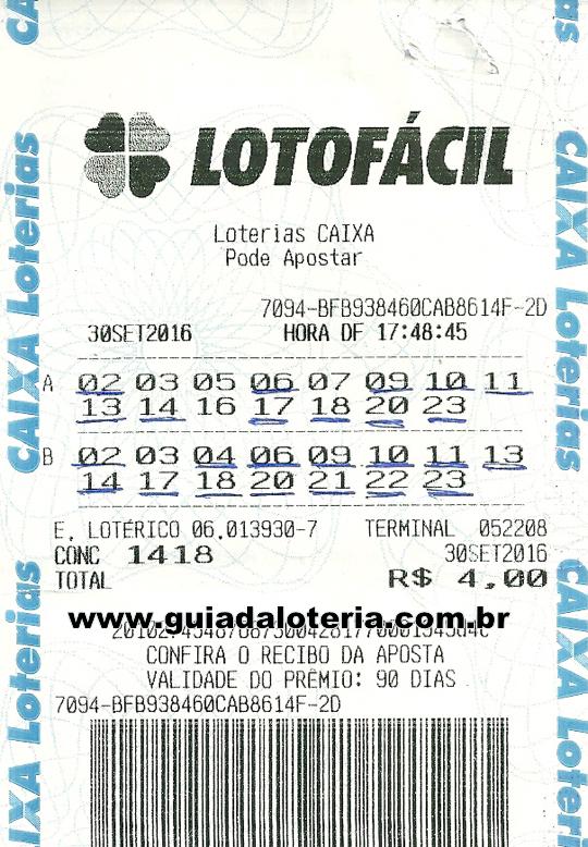 Lotofácil 30/09/16 - R$ 1.492,04