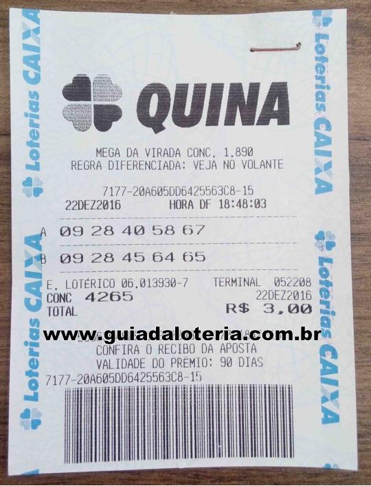 Quina 22/12/16 - R$ 10.034,68