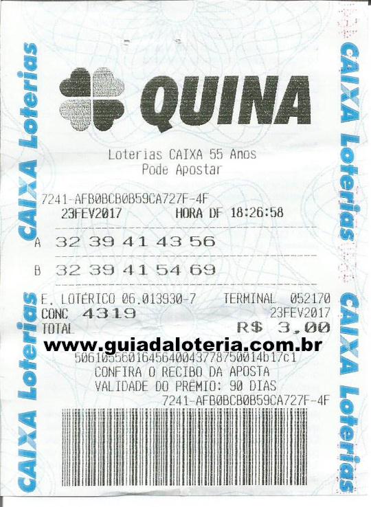 Quina 23/02/17 - R$ 20.795,90