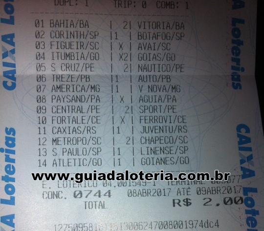 Loteca 11/04/17 - R$ 652,08