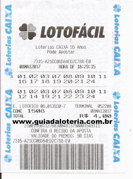 Lotofácil 08/05/17 - R$ 1.659,53