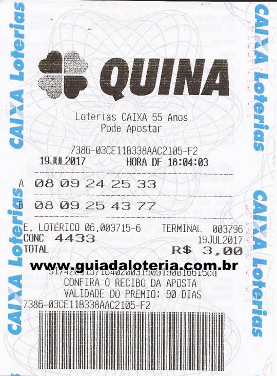 Quina 19/07/17 - R$ 4.779,83