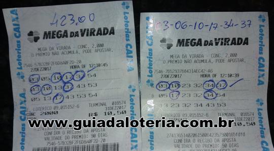 Mega Sena 31/12/17 - R$ 846,24