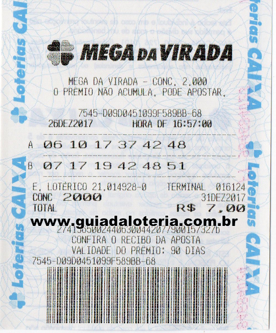 Mega Sena 31/12/17 - R$ 423,12